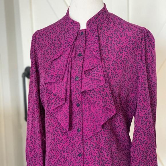 Purple & black wine print blouse
